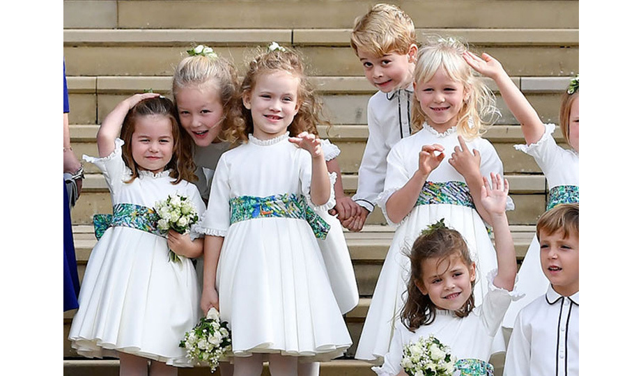 Prince George and Princess Charlotte were back in Windsor as pageboy and bridesmaid at their third wedding of the year, this time for Princess Eugenie and Jack Brooksbank. The pair reunited with their favourite playmates, Savannah and Isla Philips. 