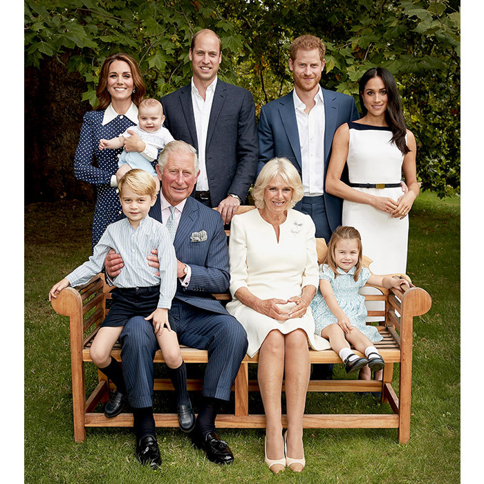 The Sussexes, the Cambridges, and Prince Charles and Camilla all posed together for a stunning portrait at Clarence House. As with most of the Royal Family portraits, members coordinated outfits ever so subtly, with the theme being blues and pale creams. Most notably, baby Prince Louis donned a Peter Pan collar just like his stylish mom, Duchess Kate.
