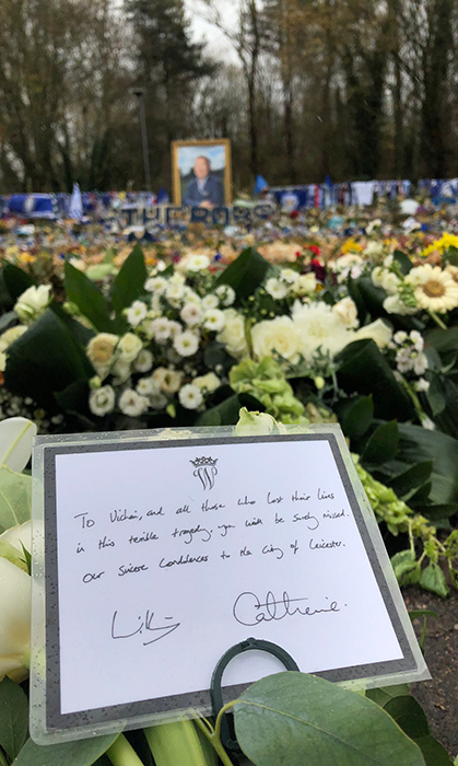 "Journalist Chris Ship shared a snap of a heartfelt note that the duke and duchess left at the site, which reads: ""To Vichai, and all those who lost their lives in this terrible tragedy, you will be surely missed. Our sincere condolences to the City of Leicester.""