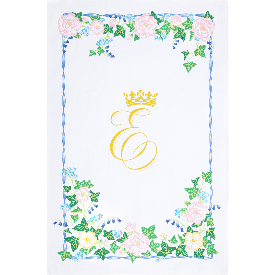 This tea towel commemorating the second British royal wedding of the year is beautifully adorned with flowers that include the white rose of York.