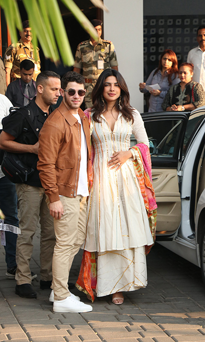 The nearly newlyweds were spotted in Mumbai, getting ready to head to Johdpur for their big day this weekend!