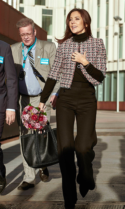 Crown Princess Mary was the queen of tweed in a cropped coat and black pants for the UNICEF Children's Day in Denmark.