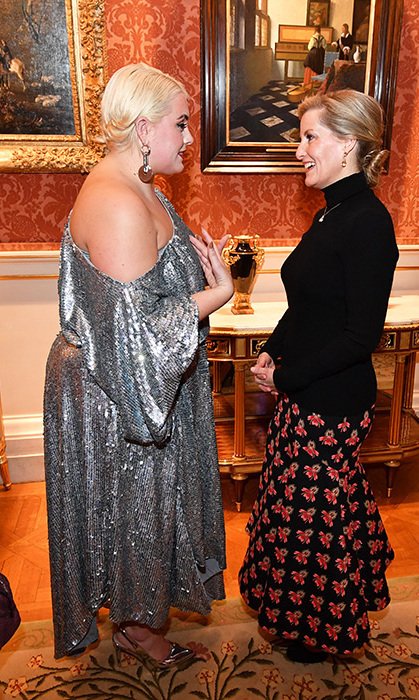 The Countess of Wessex has been hitting it out of the park with her fashion game as of late. Donning a fit-and-flare skirt and simple black turtleneck sweater, the royal attended the London College of Fashion's Better Lives project at Buckingham Palace.