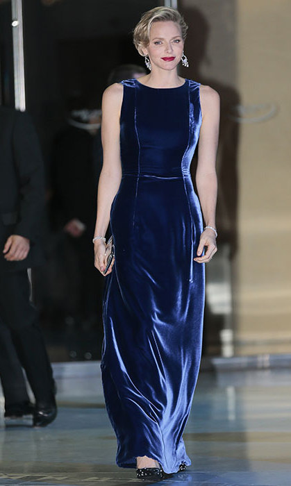 Princess Charlene dazzled in the most beautiful blue velvet gown at the annual Monaco Against Autism gala in Nov. 2013.