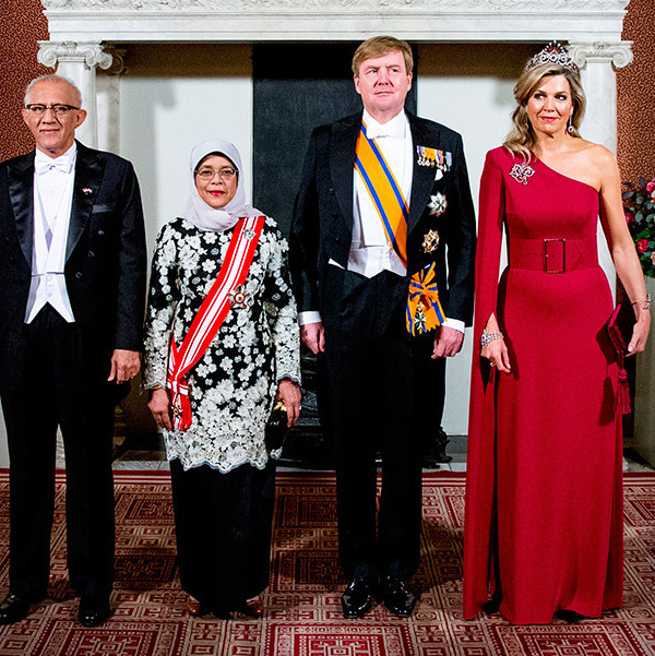 Look no further than Queen Máxima's stunning asymmetrical gown for your fanciest holiday fetes! While visiting Amsterdam's Royal Palace, the Argentina-born royal stunned in a one-sleeved creation by Danish designer Claes Iversen.