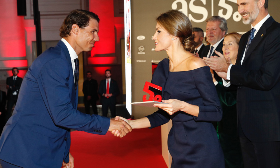 Queen Letizia shook hands with Spanish tennis star Rafael Nadal, who scored an award at the 50th anniversary celebration for <em>AS</em> newspaper. Their Dec. 2017 meeting looked like a highlight for the Wimbledon champion, who was deemed Best Spanish Male Athlete.