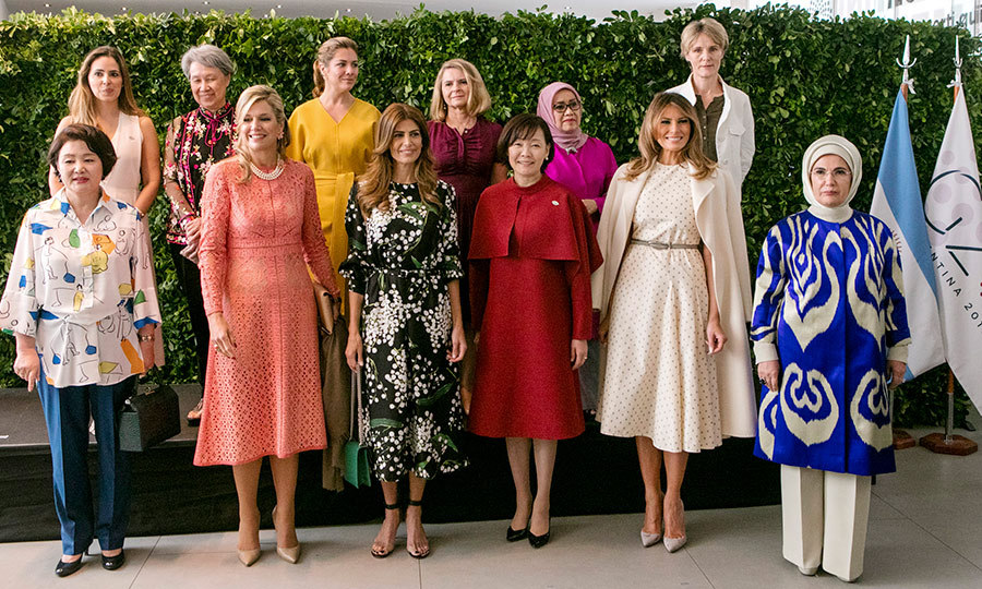 On Dec. 1, Queen Máxima joined First Ladies – including Melania Trump and Sophie Gregoire Trudeau – from around the world in Argentina for the  G20 Partners' Programme. The Dutch queen dazzled in peach lace, three strands of pearls and chic nude pumps.