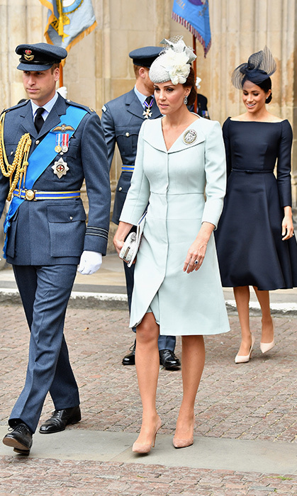 One of the duchess's favourite colours to wear this year was powder blue. For the RAF Centenary commemoration in July, she dazzled in an Alexander McQueen coat dress, paired with a matching blue fascinator and clutch, and beige pumps.