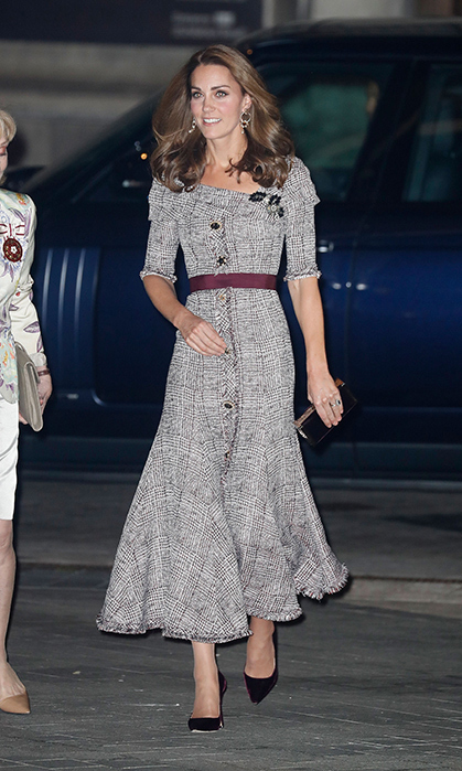 Stepping out on Oct. 10 to support one of her patronages, the Victoria & Albert Museum, Kate turned to Canada-born designer Erdem for a fresh new look that dazzled fans with its fit-and-flare cut and iconic Prince of Wales check pattern. The duchess paired the $2500 Iman dress by the Montreal-raised, British-based designer with gold earrings, burgundy pumps and a simple clutch.