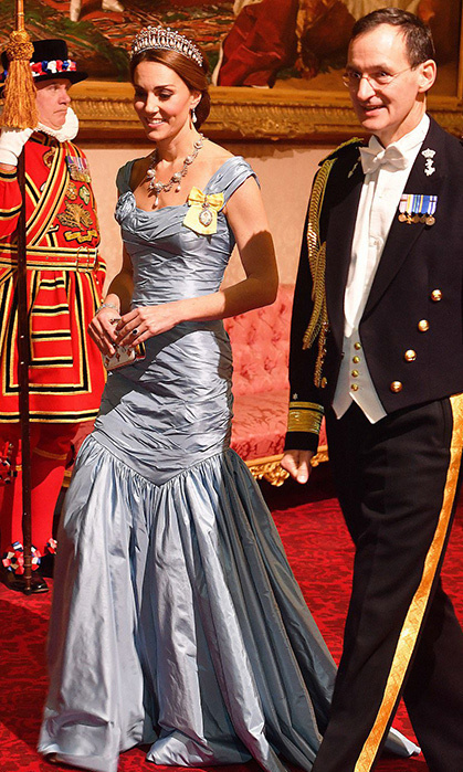 For Kate's first glamorous engagement since returning from maternity leave, she definitely didn't hold back! The mother of three dazzled in a new number by Alexander McQueen, which boasted a flattering cap sleeve, gathered bodice and mermaid-style skirt. She accessorized with the stunning Cambridge Lover's Knot tiara, Queen Alexandra's Wedding Parure necklace and Princess Diana's Collingwood pearl earrings.
