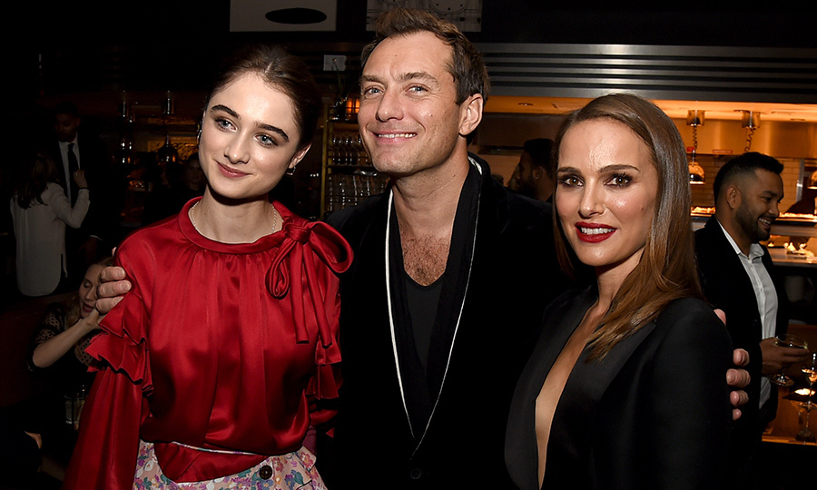 Raffey Cassidy, Jude Law and Natalie Portman posed together at the after party for the premiere of their intense drama film <em>Vox Lux</em> on Dec. 5.