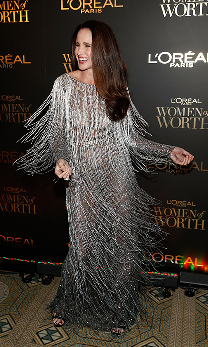 Swish, swish! Andie MacDowell wore the most glamorous silver gown for the L'Oréal Paris Women of Worth Celebration on Dec. 5.
