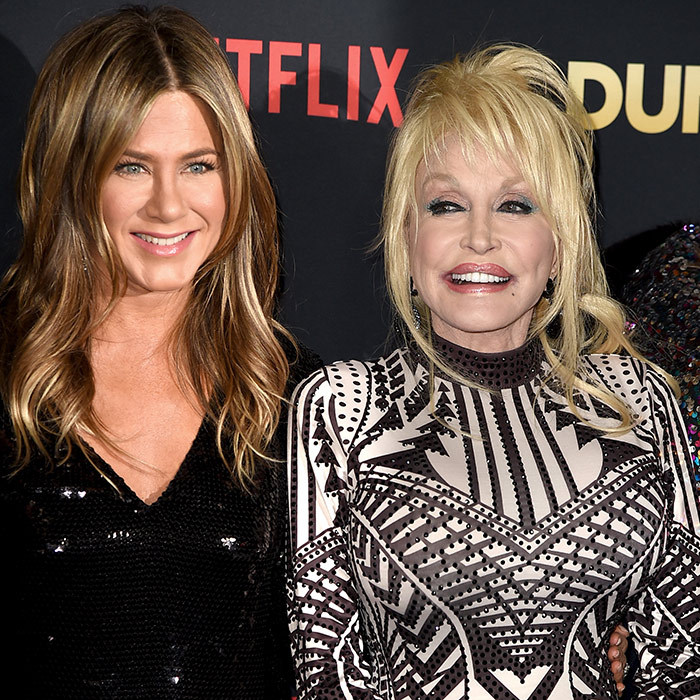 Two legends! Jennifer Aniston and country icon Dolly Parton arrived  at the premiere of Netflix's <em>Dumplin'</em> at the Chinese Theater on Dec. 6 in LA.