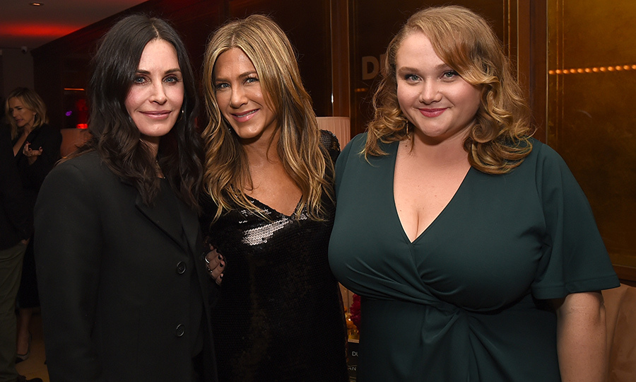 Industry pals and <em>Friends</em> co-stars Courteney Cox and Jennifer Aniston joined actress Danielle MacDonald at the after party for the premiere of <em>Dumplin'</em>.