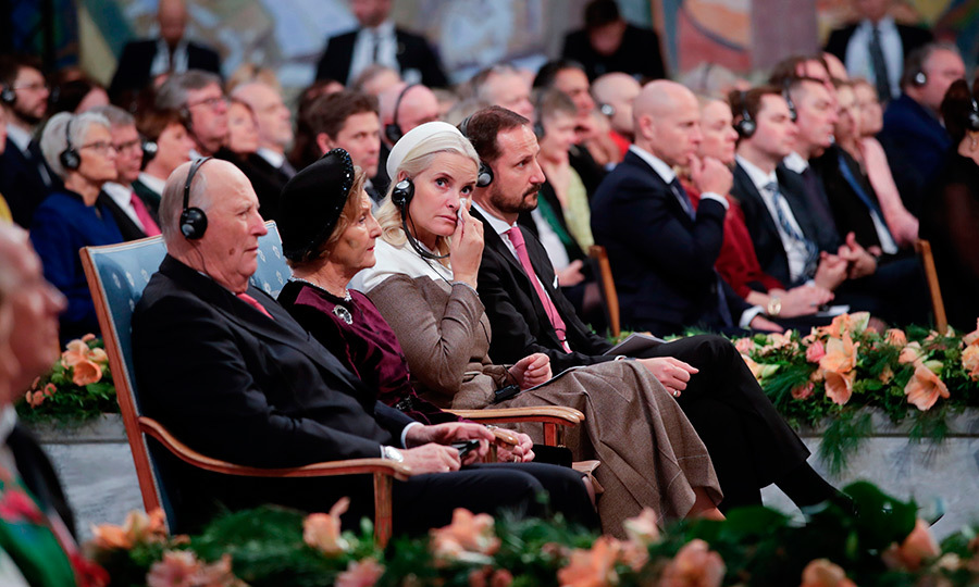 Princess Mette-Marit of Norway dabbed her eyes as she became emotional during the Nobel Peace Prize ceremony in Oslo on Dec. 10. The mother of three, who recently revealed her diagnosis with lung disease, attended with King Harald V, Queen Sonja of Norway and her husband, Crown Prince Haakon.