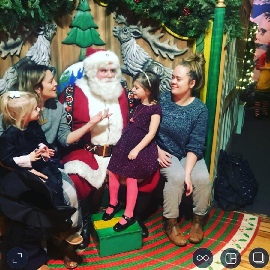 "Drew Barrymore took daughters Frankie and Olive for a visit to Saint Nick a few days before Christmas in 2017, captioning the cute photo: ""Just kicking it with Santa #goodtalk""