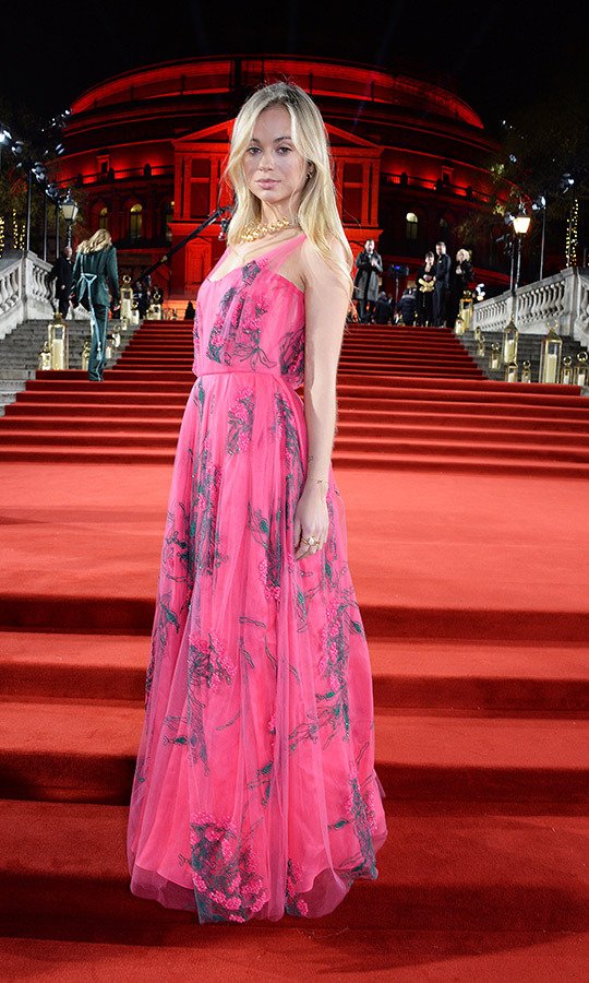 Lady Amelia Windsor slipped into a hot-pink, floral-embroidered gown as she made a stunning appearance at The Fashion Awards 2018 in partnership with Swarovski at the Royal Albert Hall in London on Dec. 10. The royal toppe doff the look with a gold necklace, a swipe of pale pink lipstick and her blond locks in soft waves.