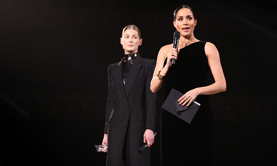 """It is such an honour to be here celebrating British fashion and British fashion designers in my new home of the U.K.,"" the 37-year-old said as the audience erupted into cheers. Referring to female Creative Director of Givenchy, Meghan said: ""When you choose to wear a certain designer, we're not just a reflection of their creativity and their vision but we're also an extension of their values, of something in the fabric so to speak that is much more meaningful.""