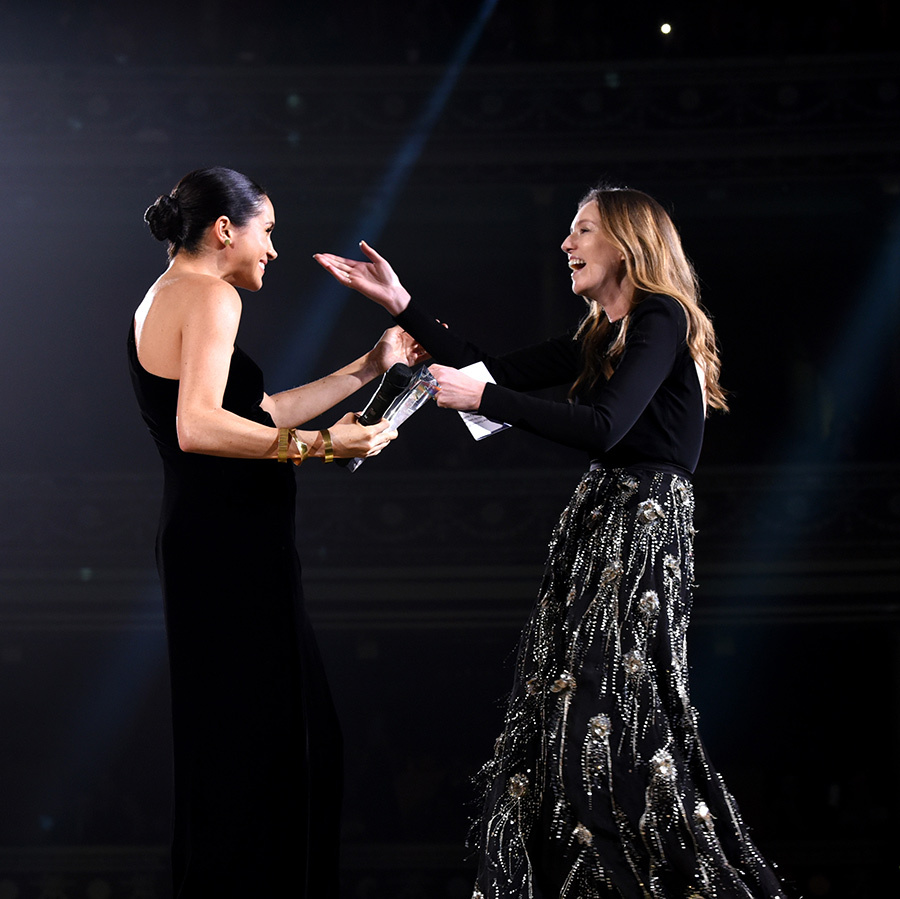 "HELLO! UK editor-in-chief Rosie Nixon, who was in the audience, said that Clare was ""obviously stunned and surprised - she had no idea."" Meghan was clearly thrilled to give her fashion go-to such a pleasant surprise!