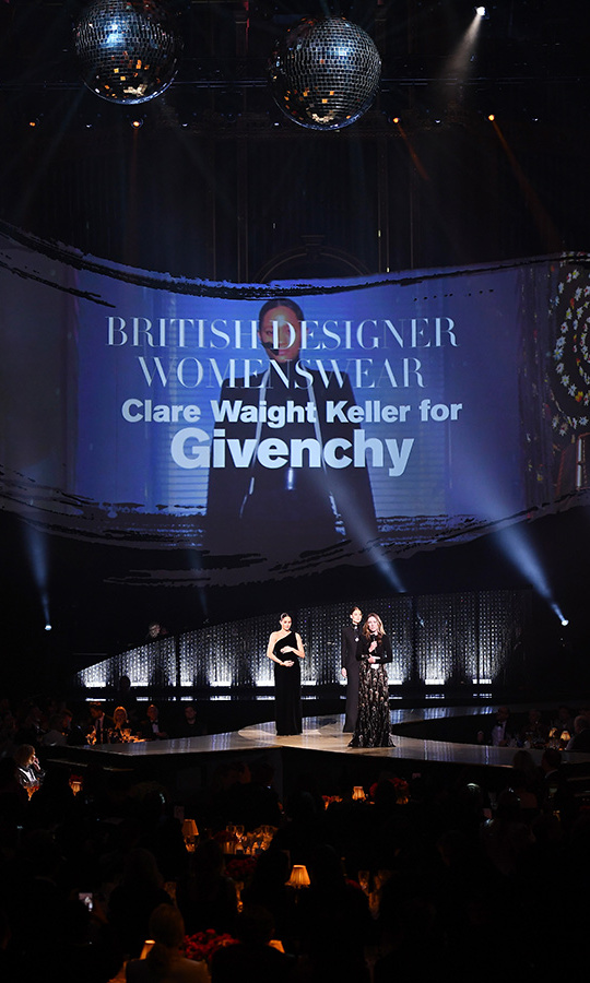 Clare Waight Keller took home the honour for British Womenswear Designer of the Year for her work at Givenchy, which has become Meghan's go-to label since her wedding to Prince Harry. 
