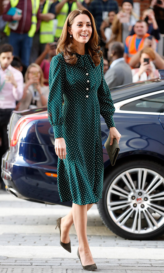 The Duchess Of Cambridge Dons Spotty Shirt Dress And Pearl
