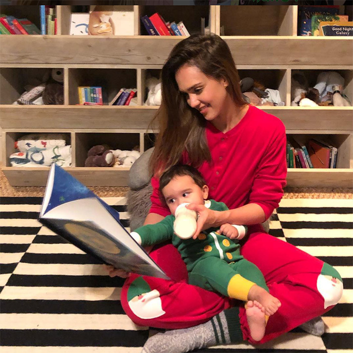 Jessica Alba and her son, 11-month-old Hayes, cozied up in the cutest Christmas-themed onesies.
