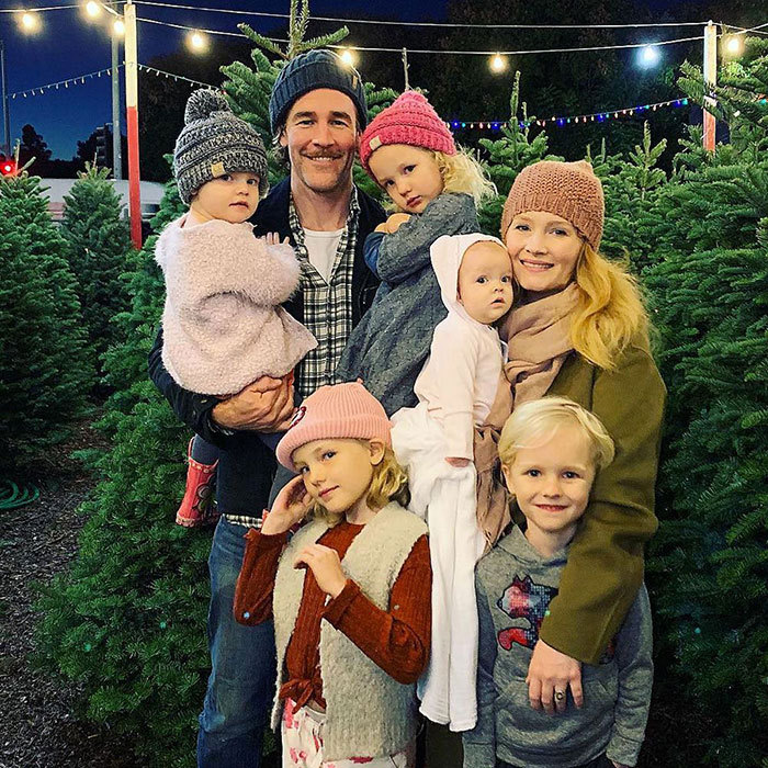 "James Van Der Beek and his family of seven have nailed the perfect cozy Christmas photo... but it hasn't always been this way! The <em>Dawson's Creek</em> star captioned the snap: ""Only one kid tried to defect while we attempted this pic... Not bad.""