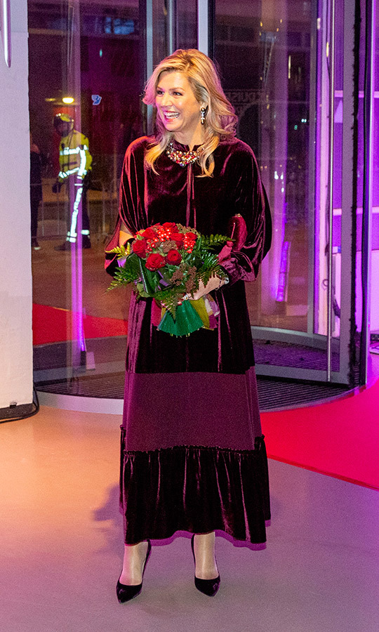 Queen Maxima's gorgeous velvet dress gave us all the holiday feels! The Dutch royal donned the perfect plum design, which features billowing sleeves and a bohemian ruffle on the skirt, to host a concert with husband King Willem-Alexander in honour of the visiting President of Cape Verde, Jorge Carlos de Almeida Fonseca, and his wife Ligia Dias Fonseca on Dec. 12. She anchored the look with coordinated pumps and finished it off with a multicoloured necklace and drop earrings. The queen wore her hair in soft waves and a glamorous face of makeup, complete with a berry lip. 