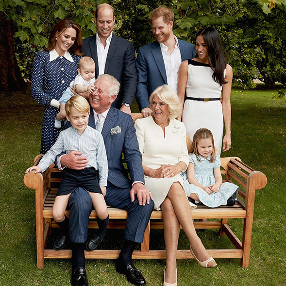 To commemorate Prince Charles' milestone 70th birthday, the Duchess of Cornwall, the Cambridges and the Sussexes all gathered at Clarence House to pose for casual portraits together. And we just can't get over how cute baby Prince Louis looks, having a grab at grandpa Charles's nose!