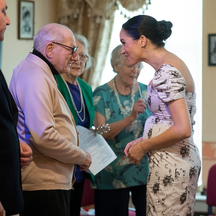 The Duchess of Sussex spent some time speaking to Reg Brigden, a veteran of the entertainment industry.