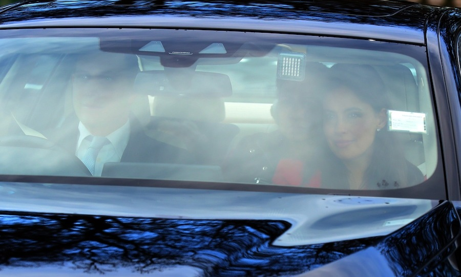 Lord Frederick Windsor and Sophie Winkleman arrived together for the Christmas lunch! Sophie looked radiant in red.