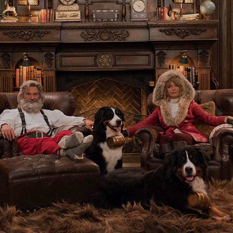Talk about Christmas swag! Kurt Russell and Goldie Hawn posed as Santa and Mrs. Claus to celebrate Netflix's new film <em>The Christmas Chronicles</em>, which Kurt stars in.