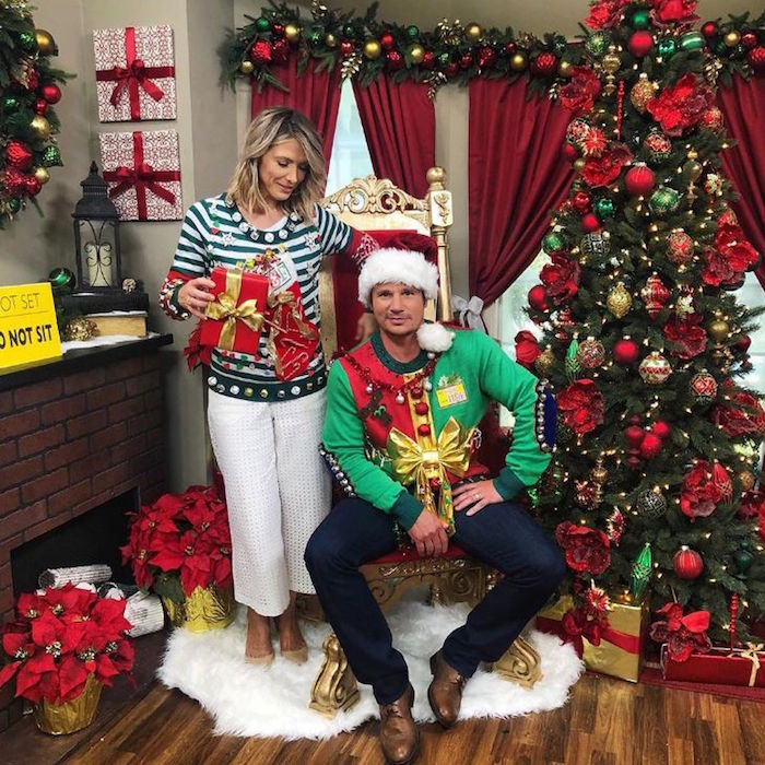"Nick Lachey and his wife, Vanessa Minnillo, wore matching ugly Christmas sweaters! Nick wrote on Instagram: ""There's a brief period every year when it becomes acceptable to wear the ugliest thing your closet, and it's my favorite time of the year. #UglySweaterSeason"".