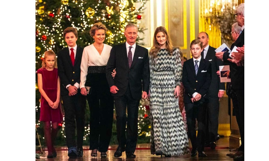 Princess ElŽonore, Prince Gabriel, Queen Mathilde, King Philip of Belgium, Princess Elisabeth and Prince Emmanuel attended the Christmas Concert on Dec. 19 at the Royal Palace in Brussels.