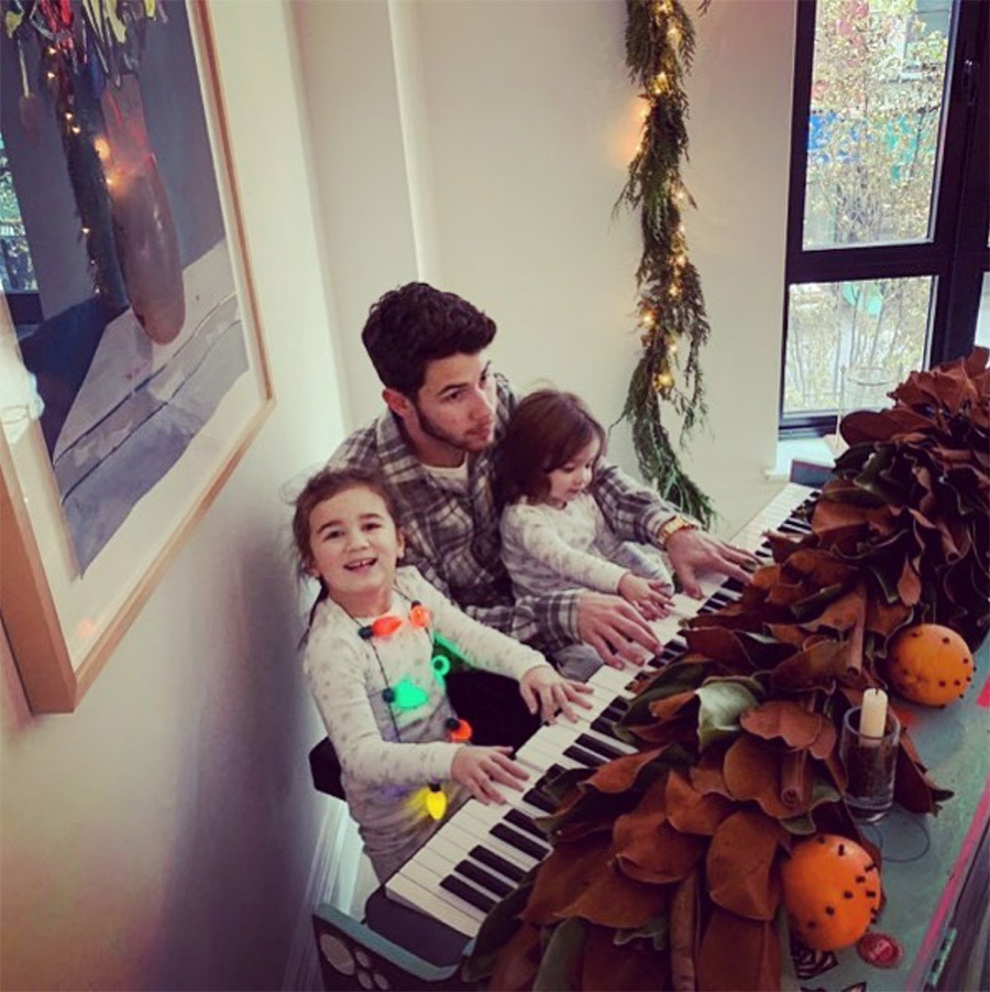 "Amid his many lavish wedding ceremonies and receptions, newlywed Nick Jonas founds some time to hang with his adorable nieces. ""My beautiful nieces teaching me everything I know on the keys. "" he captioned the sweet snap. 