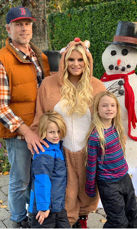 "Jessica Simpson posted a series of sweet family photos from a self-imposed snow day! Dressed in their cold-weather best, like puffy vests, snow pants and even a reindeer suit, the pregnant star and her family brought the Christmas spirit to sunny LA. ""❄️Snow Day at the Johnson's❄️ Creating traditions and making memories!! I love the holidays!!!"" she said.