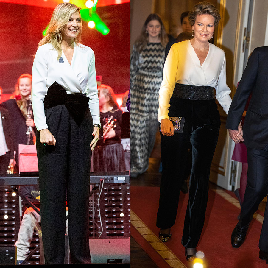 Matching monarchs! Queen Maxima of the Netherlands and Queen Mathilde of Belgium broke out their best monochrome ensembles this week for a very stylish instance of royal twinning - and to prove just how festive a white blouse and black pants can be. The Dutch royal attended a Christmas music gala in a jumpsuit by her go-to label, Natan, which pairs a wraparound-style white top with wide-leg pants and an oversized velvet bow. The Belgian queen paired a white wrap blouse with velvet trousers and a wide belt to pose with her family ahead of a Christmas concert. 
