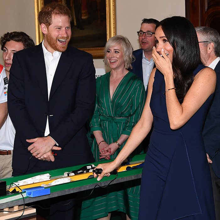 While visiting Government House in Melbourne, Duchess Meghan got quite a fright during a remote control car demonstration! They both thought it was a little funny...