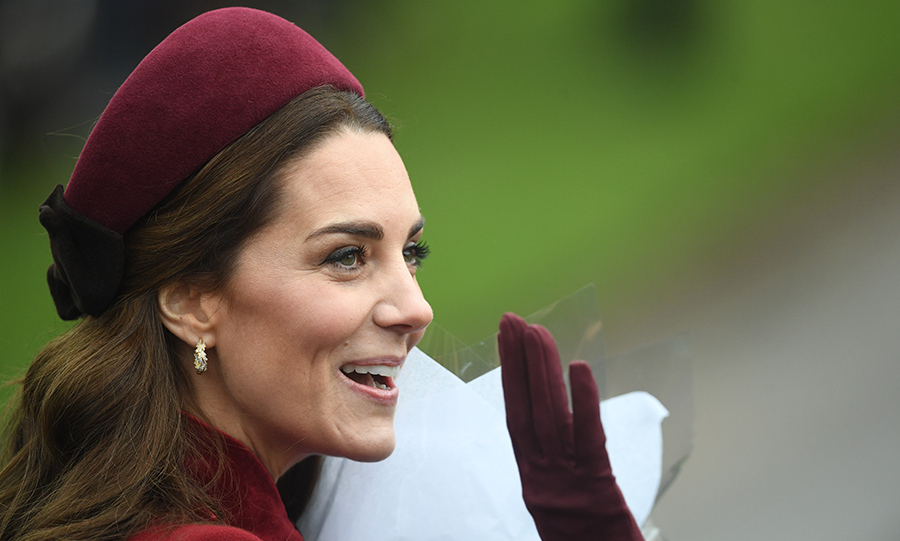duchess kate is festive in red for church on christmas day