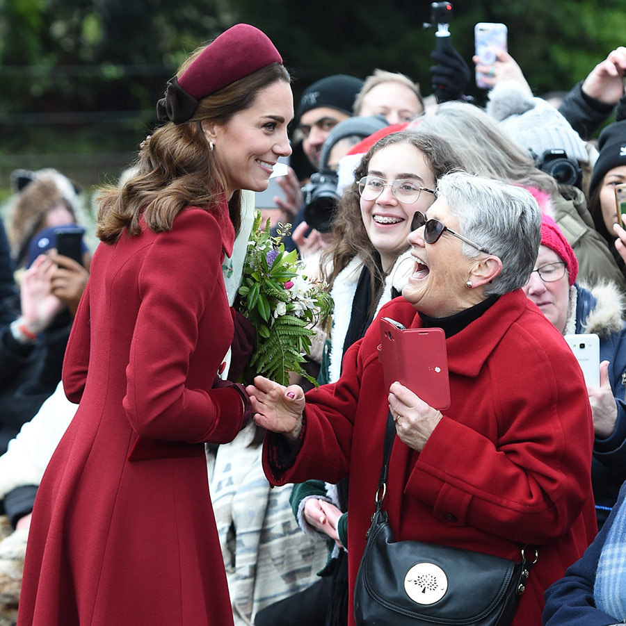 Duchess Kate was all smiles as she chatted with well-wishers outside St Mary Magdalene church. 
