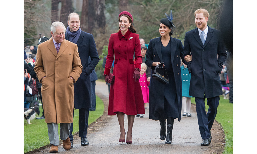 The 'Fab Four' arrived with the princes' father, Prince Charles, who wore a camel coat with matching shoes and a grey suit. The group was all smiles after a day of family fun, opening gag gifts at the Queen's Sandringham estate and enjoying an English breakfast. 