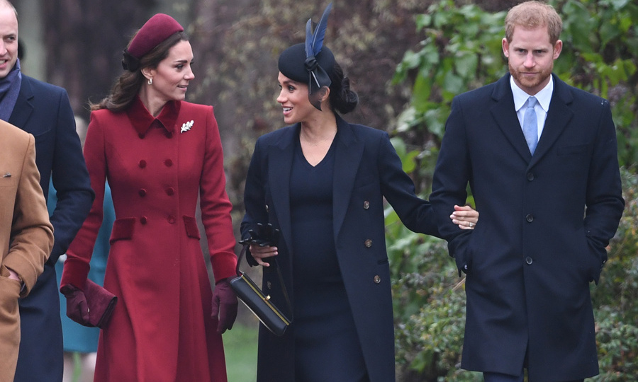 Though her dark ensemble made it harder to see, fans caught glimpses of Meghan's blossoming baby bump as she happily chatted with Kate. Prince Harry and his wife are expecting their first child early next spring. 