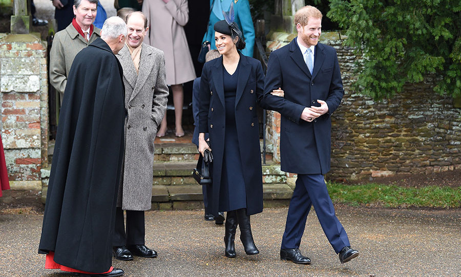 Perfectly coordinated in navy, Prince Harry and Meghan chatted with Prince Edward before heading back to Sandringham for a full turkey lunch before tuning into the Queen's Christmas address with their family.