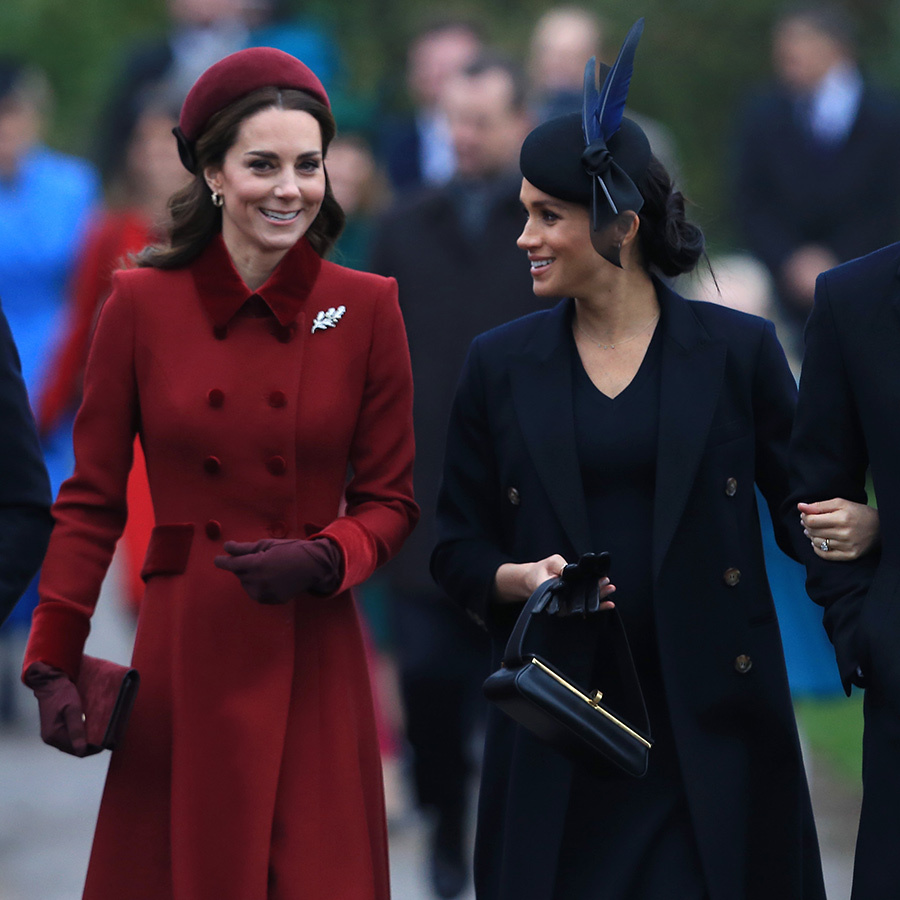 The duchesses were two peas in a pod in their monochromatic ensembles as they walked into church together. 