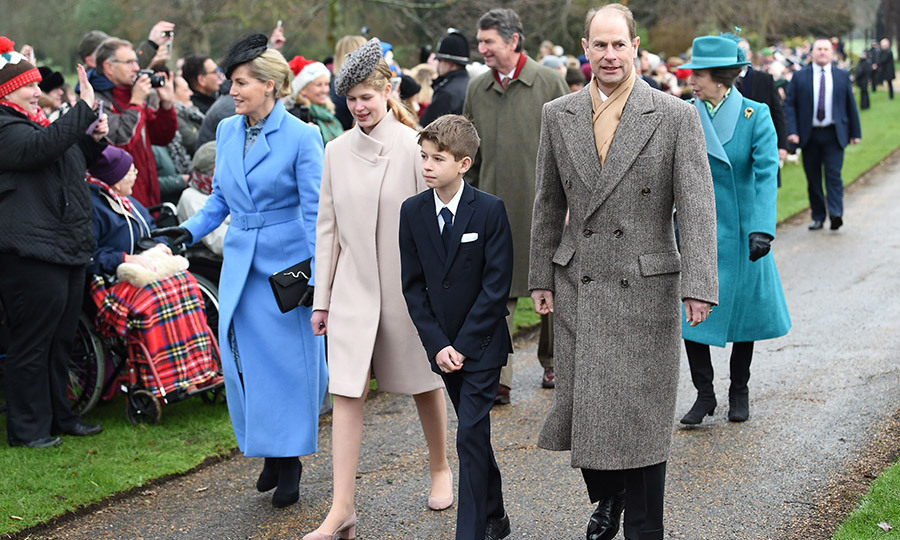 Sophie, Countess of Wessex was a vision in an ankle-length blue coat with black accessories as she arrived with husband Prince Edward and their two children, a cream clad Lady Louise and James Viscount Severn, in his smart suit. Pincess Anne can be seen in a turquoise ensemble walking behind them.  