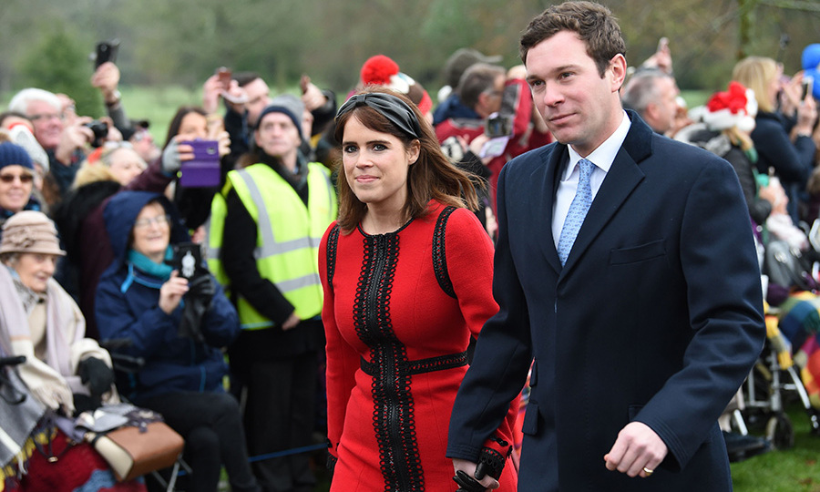 Newlyweds Princess Eugenie and Jack Brooksbank looked seriously festive as they made an appearance. The Queen's granddaughter stunned in a red and black Andrew GN dress  and black Alice headband. Her hubby wore a navy coat and baby blue tie.