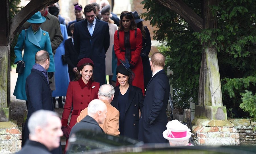 The group flooded out of church after the service to head home for a full turkey lunch before tucking in for the Queen's Christmas address. 