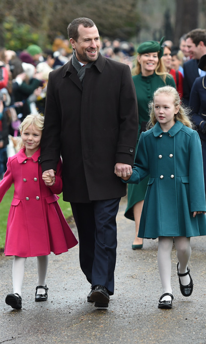 Peter Phillips walked with daughters Isla, in a pretty pink coat, and Savannah, in a beautiful green version. 