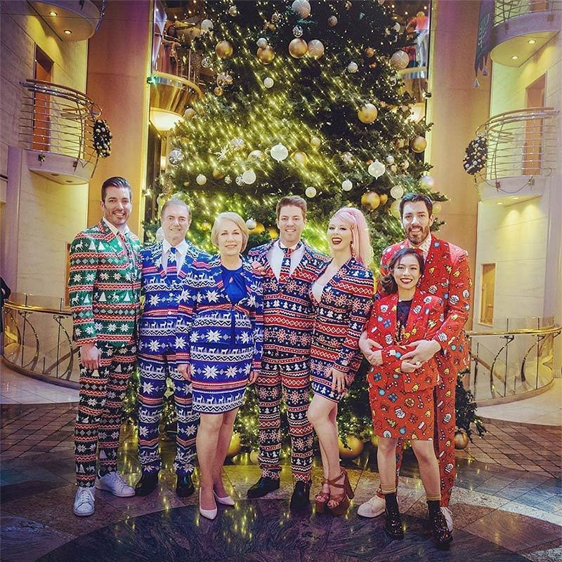 """Not sure if you can tell...we have fun. Lol. #MerryChristmas #Family"" said Jonathan Scott, whose brothers JD and Drew, sister-in-law Linda and parents dared to wear Christmas suits!
