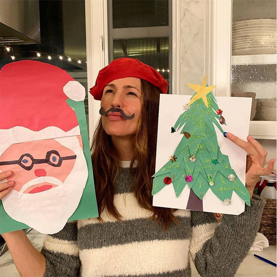 "Jennifer Garner is clearly a Christmas craft savant! ""I'm basically the @johnlegend of Christmas crafts. ‍‍♀️ #justkiddingchrissy #heisthejam #ijustlikeglue"" she captioned this fun photo. 